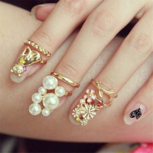 Gold-Plated-Metal-Ring-Enamel-Flower-Cute-Cat-Simulated-Pearl-Finger-Nail-Ring-For-Women-3pcs